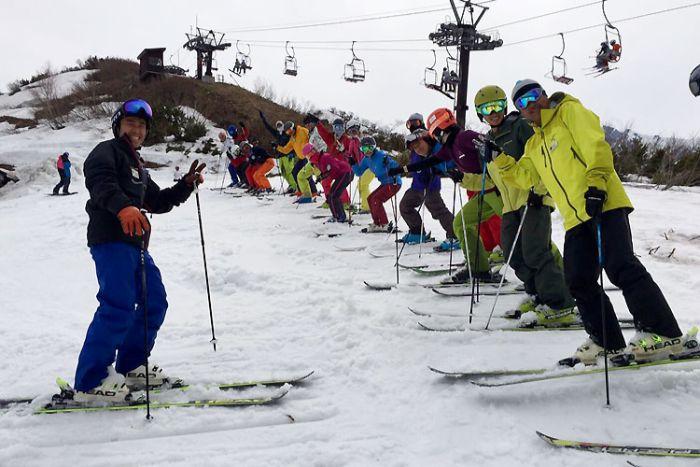 位於北阿爾卑斯山、有許多外國觀光客的滑雪場(長野)